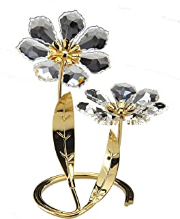 Crystal Gifts 406/2 Flowers with Gold Leaves Asfour
