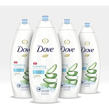 Dove Body Wash 100% Gentle Cleansers, Sulfate Free Hydrating Aloe and Birch Bodywash Gives You Softer, Smoother Skin After Just One Shower 22 oz 4 Count