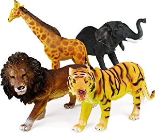 """Boley 4 Piece Jumbo 11"""" Safari Animals Set - Large Zoo Animals and Jungle Animals Set - Includes Elephant, Giraffe, Lion, and Tiger - Ideal Educational Toy for Kids, Children, Toddlers"""