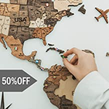 Push Pin Wood World Map Wall Art. Large Wall Decor - World Travel Map ALL Sizes (M, L, XL). Any Occasion Gift Idea - Wall Art For Home & Kitchen or Office