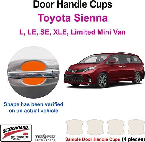 popular YelloPro Custom Fit Door Handle Cup 3M outlet sale Scotchgard Anti Scratch Clear Bra Paint wholesale Protector Film Cover Self Healing PPF Guard Kit for 2018 2019 2020 Toyota Sienna L, LE, SE, XLE, Limited Van online