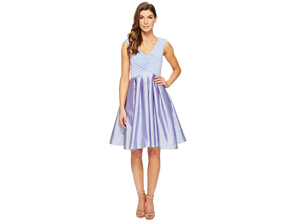Adrianna Papell Taffeta Fit and Flare (Steel Blue) Women