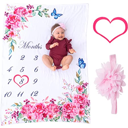 """Bliss n' Baby Milestone Blanket for Baby Girl - Perfect Baby Age Blanket with Growth Chart Blanket - New Moms Set, Wrinkle Free, Washable, Dryable, Red Heart Wreath & Pink Headband- 54""""x40"""""""