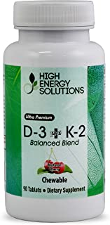 D-3+K-2 (D3 2000 iu & K2 75mcg (MK7) 90 Chewable Tablets (Cherry) Ultimate Bioavailability and Absorption. Balanced Blend Perfect for Kids and Adults. Made in USA