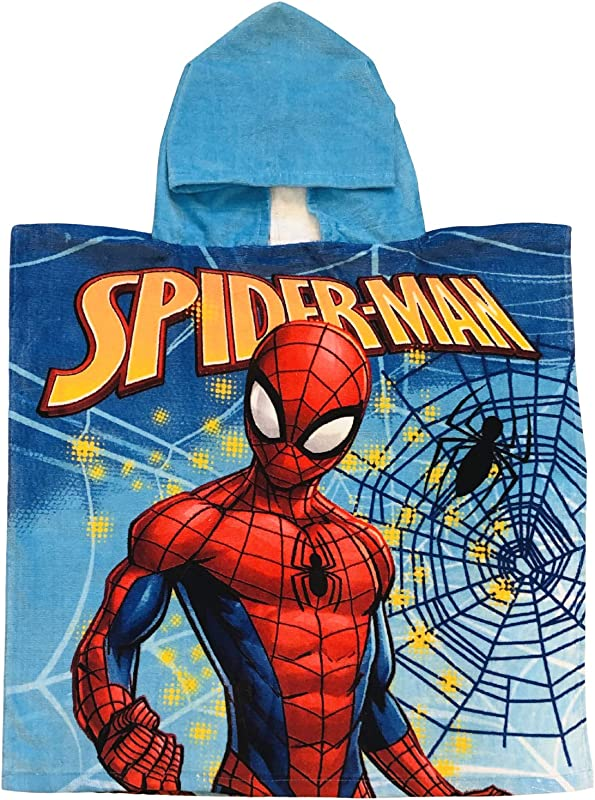 Marvels Spiderman Spiderweb With Black Spider Soft Blue Hooded Poncho Towel