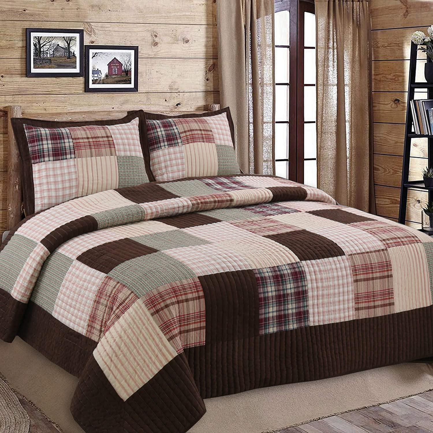 Brody Brown Plaid Max 74% OFF Stripe Patchwork 3-Piece Kin Bombing new work Cotton Reversible