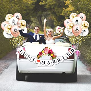 KeaParty Just Married Car Decorations, Just Married Banner Sign and Balloons, Wedding Bridal Shower Bachelorette Party Decorations, Photo Props, Car Decorations