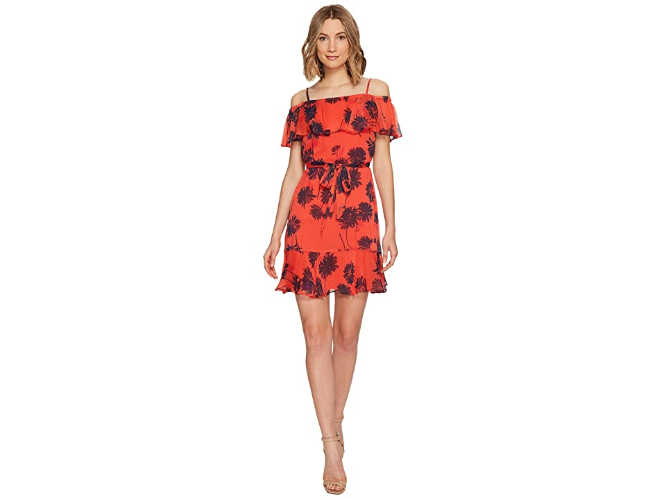 e68dc28fef Donna Morgan Belted Trapeze Dress with Ruffle Cold Shoulder (Tea Rose Red Marine  Navy