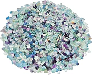 SUNYIK Fluorite Tumbled Chips Stone Crushed Crystal Quartz Pieces Irregular Shaped Stones 1pound(About 460 Gram)