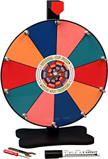 Whirl of Fun Spinning Prize Wheel 12 Inch-Tabletop with Stand, 10 Color Slots, Customize Erasable Whiteboard Surface, Tropical Colors, Portable, Tools Included, Made in USA