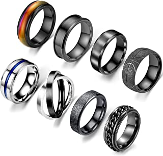 EIELO 8Pcs Stainless Steel Black Band Rings for Men Women Cool Fidget Spinning Ring Release Anxiety Chain Ring Simple Wedd...