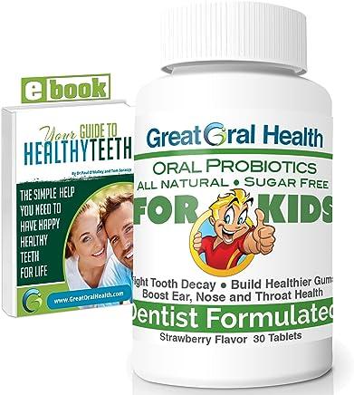 Chewable Children's Oral Probiotics ~ Dentist Formulated 30 Tablet Bottle ~ Seven Strains With Blis K12 & M18 ~ Probiotics For Kids ~ 83 Page eBook Included