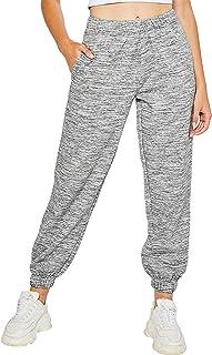 esstive Women's Ultra Soft Fleece Basic Midweight Casual High Rise Elastic Waistband Sweat Pants