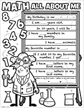 Fun Express Color Your Own Math All About Me Posters (Set of 30) School Craft Kits