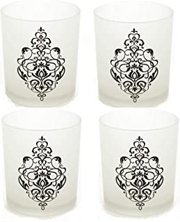 Hosley Set of 4 Glass Frosted White Tealight Holder with Scroll Design - 4
