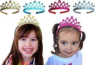 Witty Pretty Princess Tiara Crown Rhinestone Glitter Sparkle Non slip Headband Dress up Set (4-pack) Gold Silver Blue Pink
