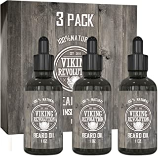 Viking Revolution Beard Oil Conditioner - All Natural Unscented Organic Argan & Jojoba Oils – Softens, Smooths & Strengthe...