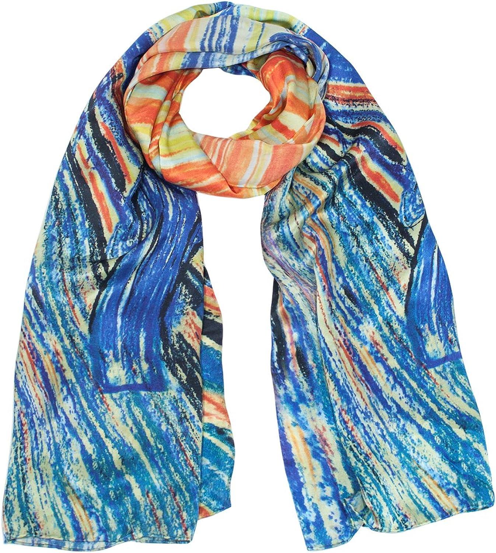 Dahlia Women's 100% Luxury Long Silk Scarf  Art Collection