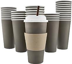 100 عبوة - 20 أونصة [8، 12، 16] [4 ألوان] أكواب قهوة ورقية للاستعمال مرة واحدة، أغطية، أكمام، ماصات تقليب - بني غامق