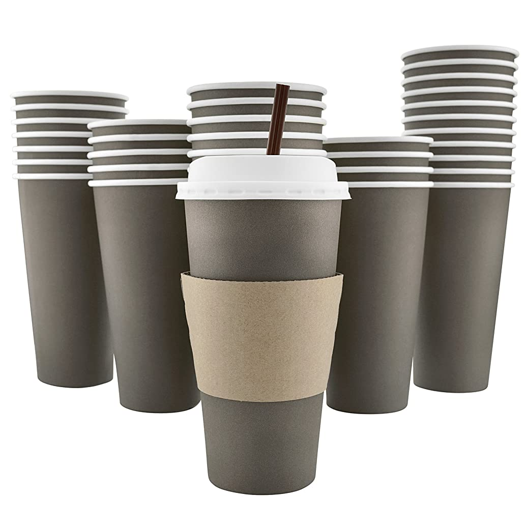 100 Pack - 20 Oz [8, 12, 16] [4 Colors] Disposable Hot Paper Coffee Cups, Lids, Sleeves, Stirring Straws - Mocha Brown