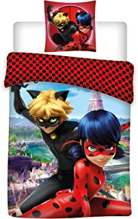 Miraculous Ladybug Kids 100% Polyester Super Soft Set of Bed Set Duvet Cover and Pillow Cover