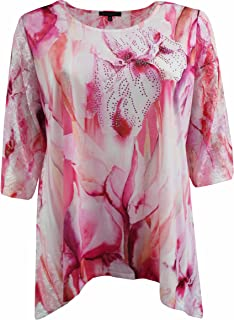 Women Plus Size Colorful Design Lace Sleeves Flowy Blouse Tee Shirt Top 1X-3X