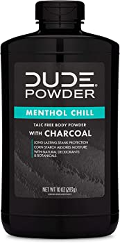 Dude Body Powder Menthol Chill with Charcoal Bottle,10 Oz