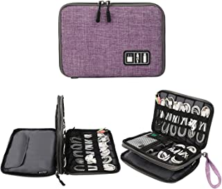 Electronics Organizer, Jelly Comb Electronic Accessories Cable Organizer Bag Waterproof Travel Cable Storage Bag for Charging Cable, Cellphone, Mini Tablet (Up to 7.9'') and More(Purple and Gray)