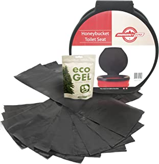 Emergency Zone Sanitation Sets, Eco Gel, Liners, Honeybucket Toilet Seat, Hygienic Waste Disposal System for Camping, Hiking, Emergency Preparedness