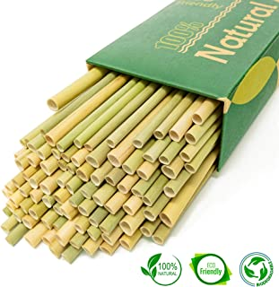 New 2019 Premium Grass Straws - Sustainable Alternative to Reusable Bamboo Straws Reusable Metal Wheat Straws - 100% Eco Friendly Biodegradable Natural Stems - Pack of 100