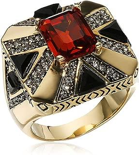 Art Deco Orange & Dark Grey Crystal Goldtone Size 8 Ring