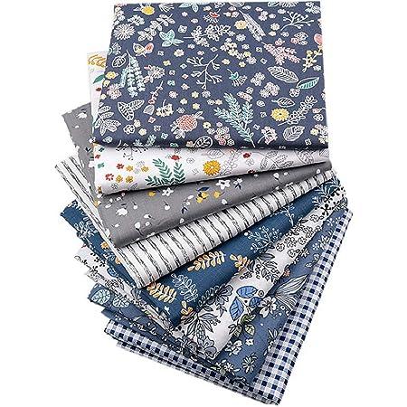 XiYee Tissus en Couture, 7 pièces 50 x 50 cm Tissus en Coton pour Patchwork, Paquets de Tissus pour Patchwork et Patchwork de, Tissu au Metre Patchwork Multicolore (01)