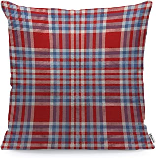 WONDERTIFY Throw Pillow Case Cover Tartan Plaid Pattern Checkered Fabric Texture Moderate Light Blue White and Bright Red Soft Linen Pillow Case for Bedroom/Livingroom/Sofa Cushion Covers 18x18 Inch