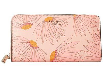 Kate Spade New York Spencer Grand Daisy Zip Around Continental Wallet (Pink/Multi) Handbags