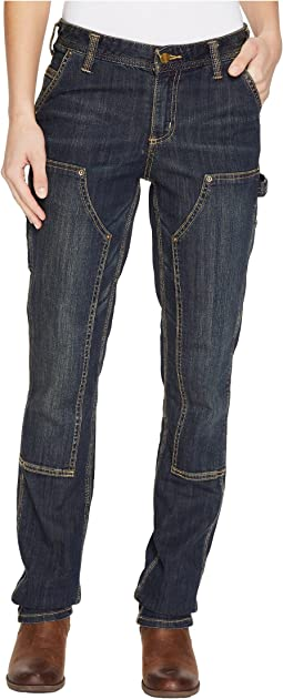 Slim Fit Double-Front Denim Dungaree Jeans