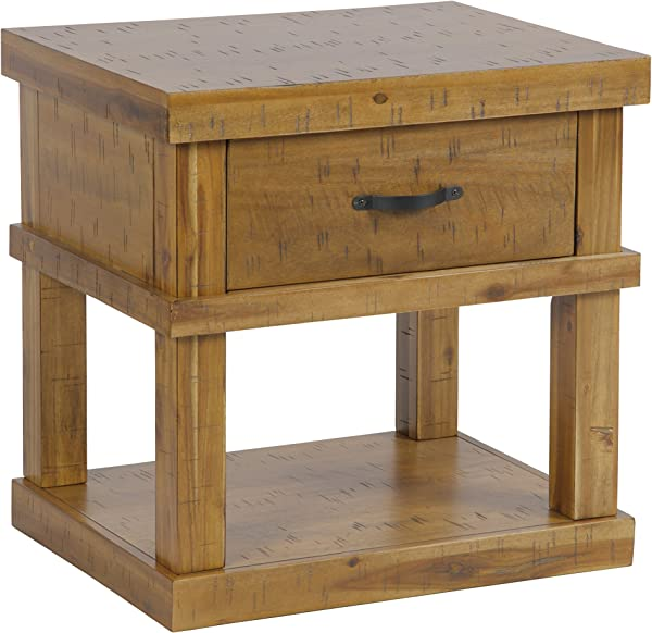 American Furniture Classics Model 521 Wood End Table Night Stand With One Drawer And One Concealed Pistol Drawer