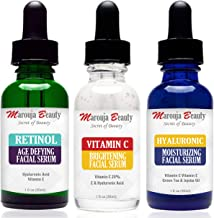 Marouja Beauty Anti Aging Set With Vitamin C Retinol And Hyaluronic Acid Serum For Anti Wrinkle And Dark Circle Remover All Natural And Moisturizing Anti Aging Serum, Pack of 1