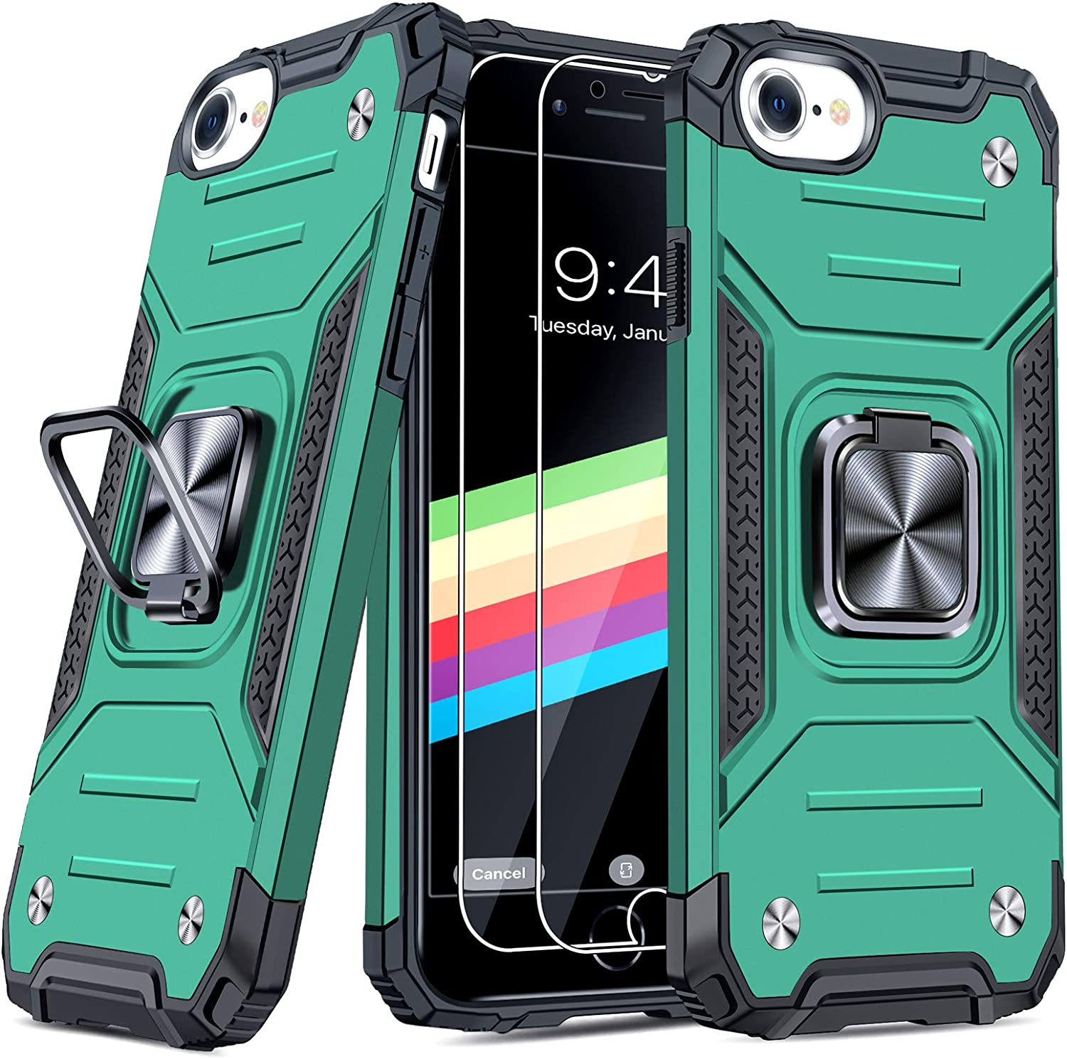 """JAME Case for iPhone SE 2020 Case with [Tempered-Glass Screen Protector 2Pcs], for iPhone 8 Case, for iPhone 7 Case, for iPhone 6s/6 Case, Military-Grade Protection, with Ring Kickstand, 4.7"""" Green"""