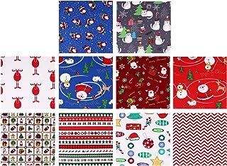 EXCEART 10 Peças de Tecido de Algodão de Natal Feixes de Desenhos Animados Quadrados Pré-Cortados Patchwork Quilting Tecid...