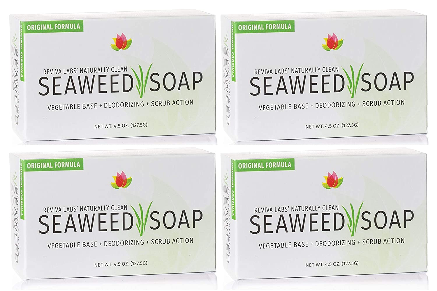 Japan Maker It is very popular New Reviva Seaweed Soap - 4 Pack and Face Scrub Ex Organic