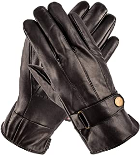 Luxury Leather Gloves with Strap - Mens Leather Winter Gloves