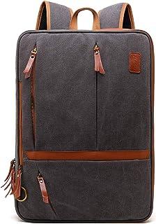 CoolBELL Convertible Messenger Bag Backpack Shoulder bag Laptop Case Handbag Business Briefcase Multi-functional Travel Rucksack Fits 17.3 Inch Laptop For Men/Women,Dark Grey