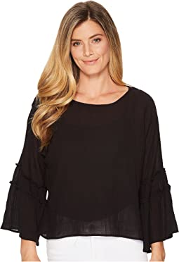 TWO by Vince Camuto - Crinkle Cotton Pleated Sleeve Blouse