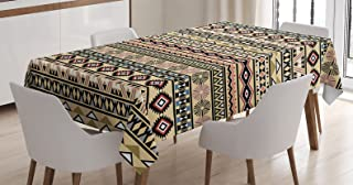 Ambesonne Tribal Tablecloth, Traditional South American Culture Aztec Tribal Print in Retro Soft Color, Rectangular Table Cover for Dining Room Kitchen Decor, 60