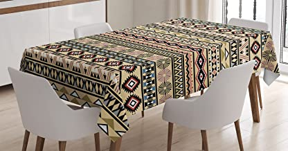 Ambesonne Tribal Tablecloth, Traditional South American Culture Aztec Tribal Print in Retro Soft Color, Rectangular Table ...