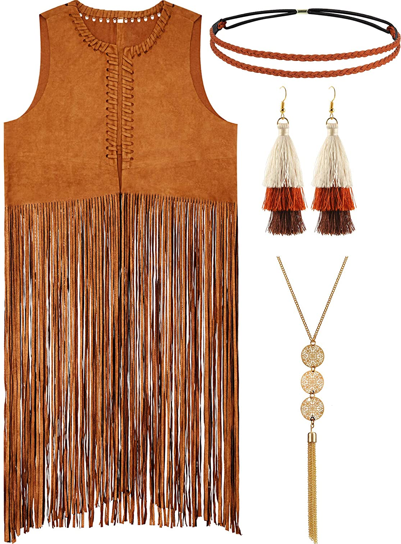 70s Costumes: Disco Costumes, Hippie Outfits 3 Pieces Women Hippie Costume Set Tassels Vest Faux Suede Fringe Vest  AT vintagedancer.com