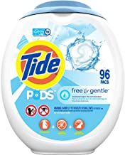 Tide PODS Free and Gentle Laundry Detergent, 96 Count, Unscented and Hypoallergenic for Sensitive Skin, Free and Clear of ...
