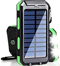 Bysionics Solar Phone Charger,Portable Charger Solar Charger Power Bank 12000mah External Backup Battery Pack Dual USB with 2LED Light Carabiner and Compass for Your Smartphones and More (Green)