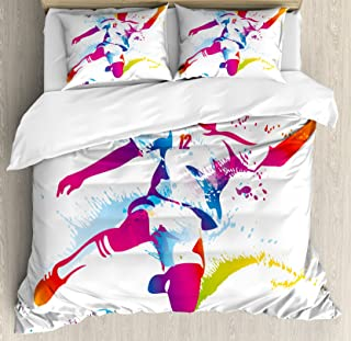 Ambesonne Teen Room Duvet Cover Set, Soccer Proffesional Player Kicks Ball Watercolor Style Spray Championship Image, Decorative 3 Piece Bedding Set with 2 Pillow Shams, Queen Size, Magenta Orange