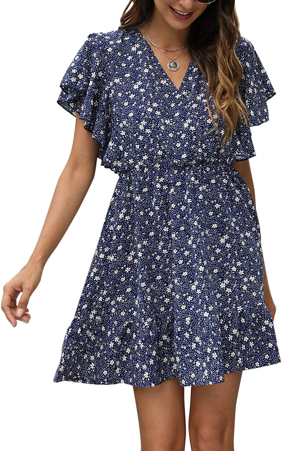 Manydress Women's Casual Max 84% OFF Floral Daily bargain sale Flow Butterfly Print Sleeve